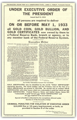 "Executive Order 6102 was signed by President Franklin Delano Roosevelt, ""FDR"", on April 5, 1933"