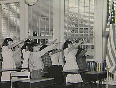 June 14, 1943, the United States Supreme Court came to a decision in West Virginia State Board of Education v. Barnette, declaring that the First Amendment protecting children from being forced to say the Pledge of Allegiance in school. The Barnette family were Jehovah's Witnesses and their religion forbade them to saluting and symbol. Their girls were expelled for failing to say the pledge. The case eventually made it's way to Supreme Court
