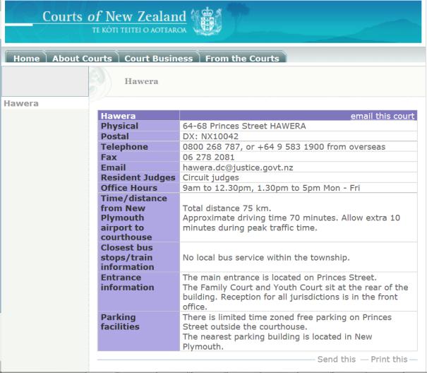 1 Court Hawera NZ