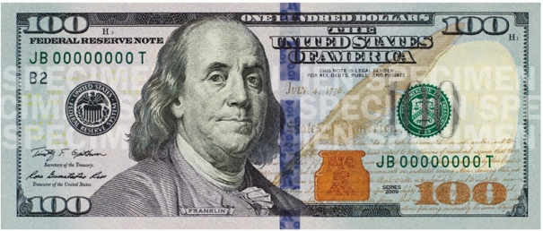 the newly designed $100 U.S. currency