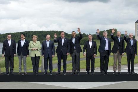 Prime Minister David Cameron has the presidency of the G8 Summit 2013. Canada-Prime Minister Stephen Harper, France-President François Hollande, Germany-Chancellor Angela Merkel, Italy-Prime Minister Enrico Letta, Japan-Prime Minister Shinzō Abe, Russia