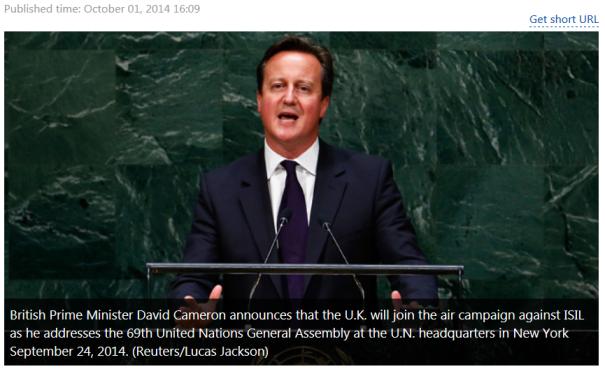 British Prime Minister David Cameron at UN