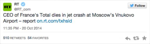 CEO of France Total dies in jet crash