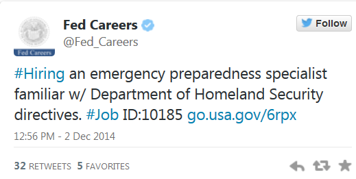 FED Hires emergency preparedness specialist familiar with DHS directives