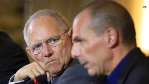 Wolfgang Schäuble glares at Yanis Varoufakis