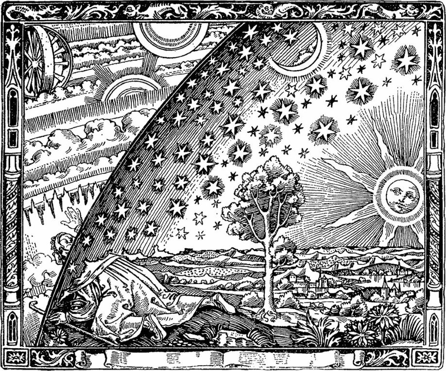 Could this image be sharing information about medieval cosmology, the flat earth, sky (heavenly firmament), as a illustration of research and the mysterious (Occulted) quests for knowledge?