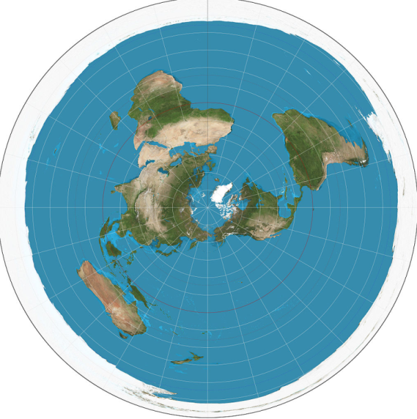 azimuthal equidistant projection is the United Nations, USGS, flat earth map