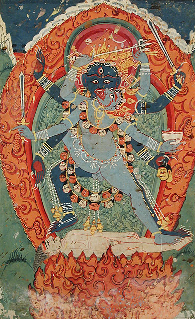 Kali and Bhairava (the terrible form of Shiva) in Union, 18th century, Nepal is the fierce temperament of Shiva