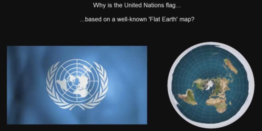 United Nations flag_Flat Earth Model