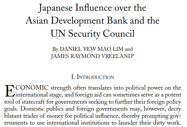 Regional Organizations and International Politics Japanese Influence over the Asian Development Bank and the U.N. Security Council