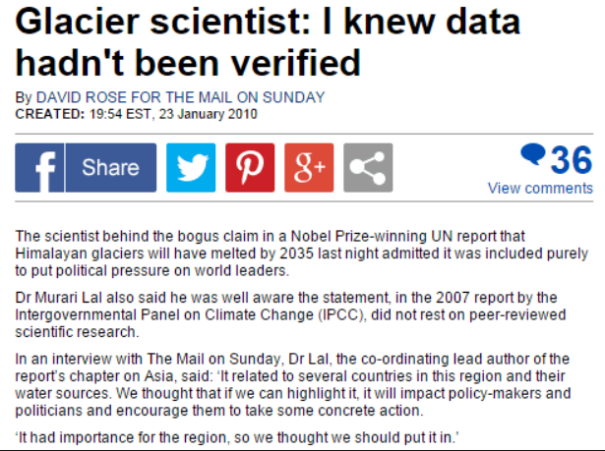 Scientist PhD Murari Lal and IPCC Lied about melting glaciers