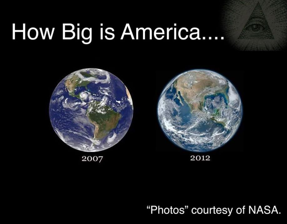 Over the years the size of America has changed according to official NASA