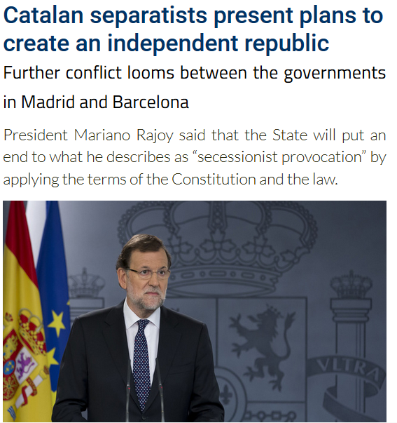 28 Oct 2015 News: Conflict Continues Between Barcelona and Madrid governments