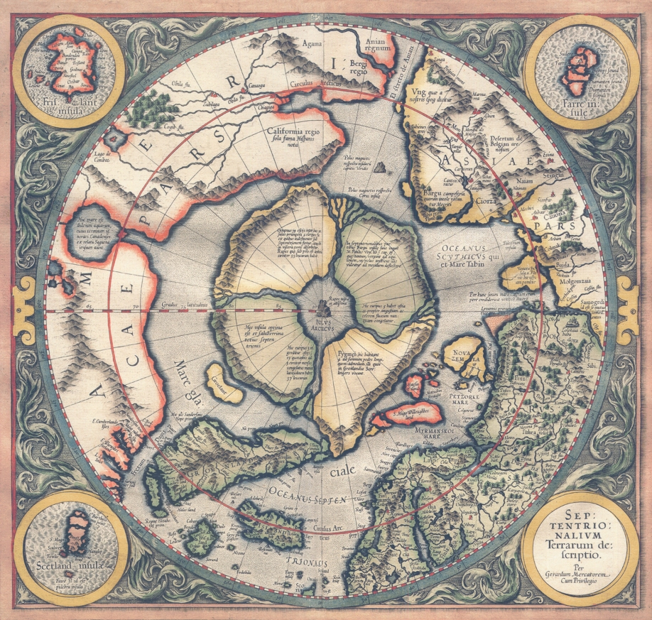 "Mercator map ""Septentrionalium Terrarum descriptio"" of 1595 Full Size"