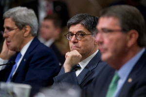 "UNITED STATES - JULY 29: From left, Secretary of State John Kerry, Treasury Secretary Jack Lew, and Defense Secretary Ashton Carter appear before a Senate Armed Services Committee hearing in Dirksen Building titled ""Impacts of the Joint Comprehensive Plan of Action (JPCOA) on U.S. Interests and the Military Balance in the Middle East,"" July 29, 2015. (Photo By Tom Williams/CQ Roll Call)"