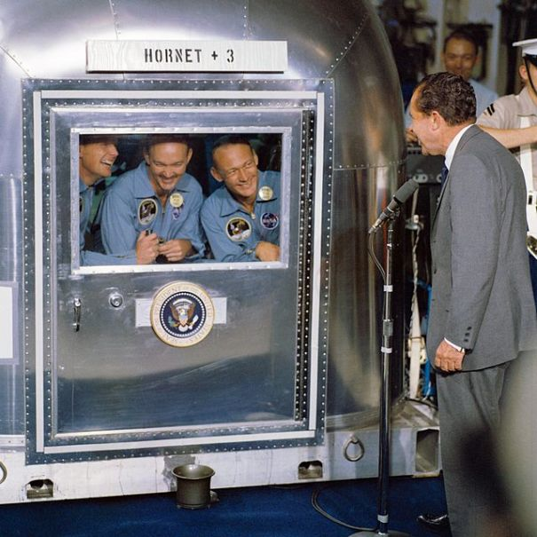 24 July 1969 President Nixon welcomes Apollo 11 astronots aboard the USS Hornet.