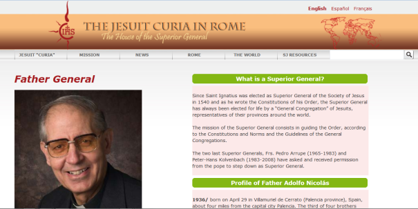 10 Dec 2015 Screen shot Superior General of the Society of Jesus Adolfo Nicolás