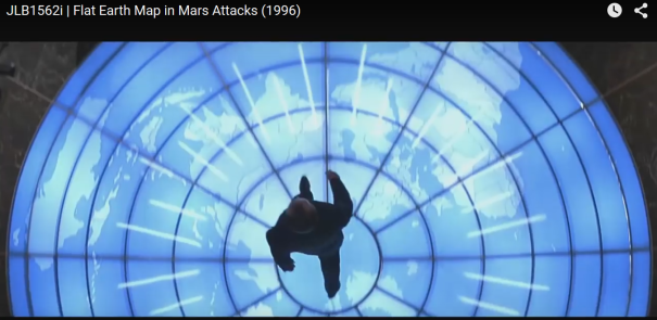 Flat Earth Map in Mars Attacks, a 1996 Movie