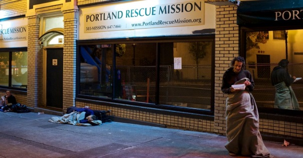 The Portland Rescue Mission provides emergency services of food and shelter at their downtown location on West Burnside. They also provide addiction recovery in the form of a 12-month residential program. Thomas Boyd/The Oregonian