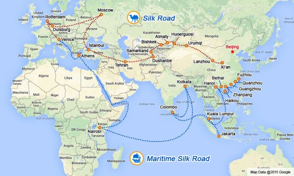 """One belt, one road"" is a development strategy started by the Chinese government in 2013. It refers to the New Silk Road Economic Belt, which will link China with Europe through Central and Western Asia, and the 21st Century Maritime Silk Road, which will connect China with Southeast Asian countries, Africa and Europe."