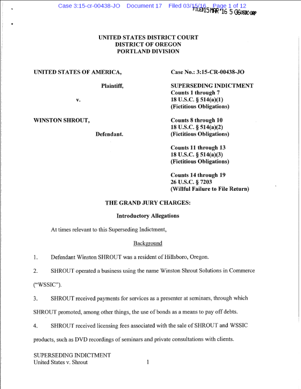 Read the indictment against Winston Shrout