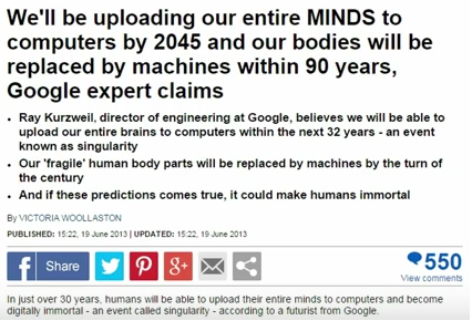 "Google's Dir. Ray Kurzweil, ""We'll be uploading our entire minds to computers by 2045"""