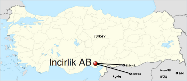 Incirlik Airbase Borders Turkey Syria near the sea