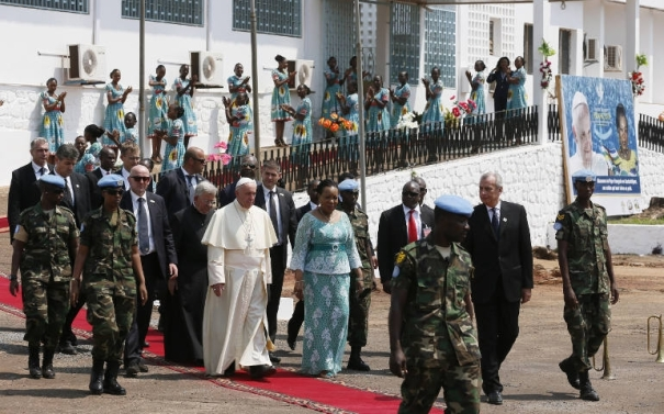 2015 Pope Francis amid armored tanks in war zone Bangui Central African Republic