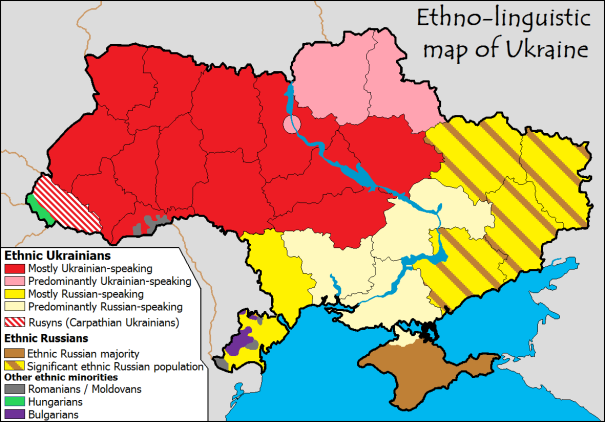 ethnolinguistic (cultural linguistics) map for Ukraine Russia borders