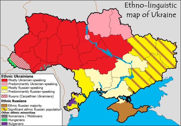 ethnolinguistic (cultural linguistics) map for Ukraine Russia borders