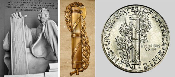 Latin fasces Carried before a lictor a superior Roman magistrate as a symbol of power over life and limb