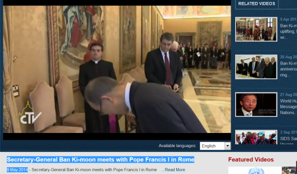 Secretary-General Ban Ki-moon bows to Pope Francis I in Rome