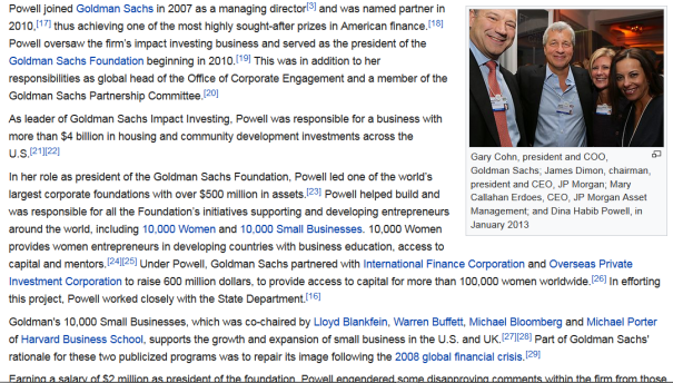 Gary Cohn, president and COO, Goldman Sachs; James Dimon, chairman, president and CEO, JP Morgan; Mary Callahan Erdoes, CEO, JP Morgan Asset Management; and Dina Habib Powell, in January 2013
