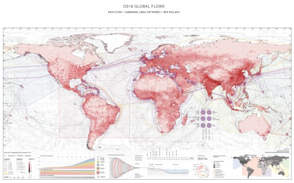 Mapped network of undersea cables