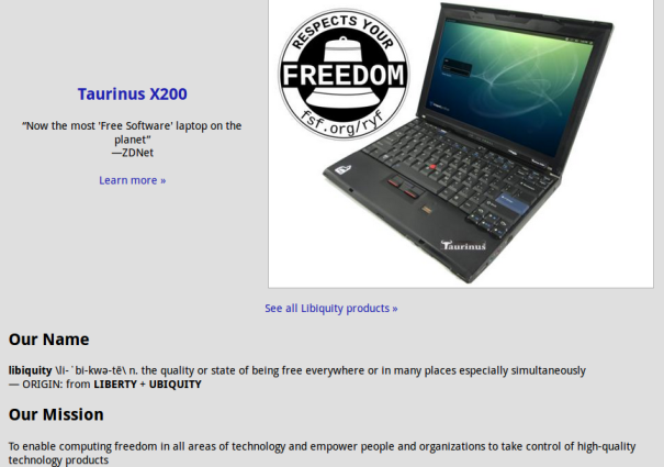 Taurinus X200 Laptop with the Trisquel GNU/Linux Operating System