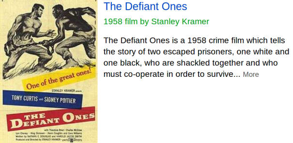 The Defiant Ones (1958) Sidney Poitier stars as Noah