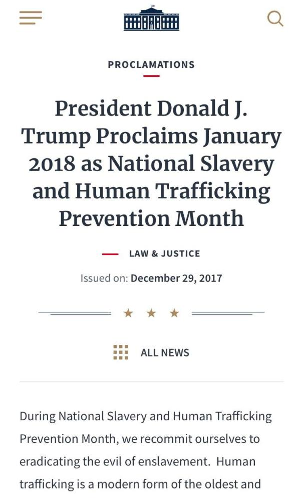 """TRUMP: ...""""ending all forms of modern slavery""""..."""