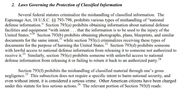 This Statute defines the criminal act of mishandling classified information, to which Hillary Clinton is guilty of thousands of counts of violating this law.