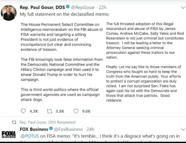 Rep. Paul Gosar alleges treason...