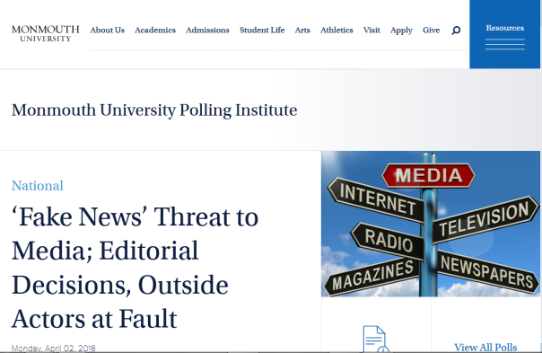 Poll reported: 77percent think traditional media is fake news