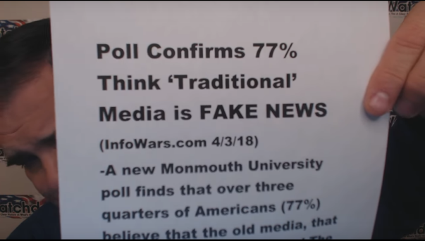 Greg Hunter - Weekly News Wrap-Up 5 April 2018 reported the American public believe that traditional media outlets are reporting fake news!