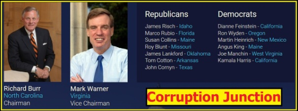 """SSCI Chairman Richard Burr and SSCI Vice-Chair Mark Warner are """"Gang-of-Eight"""" intelligence oversight members."""