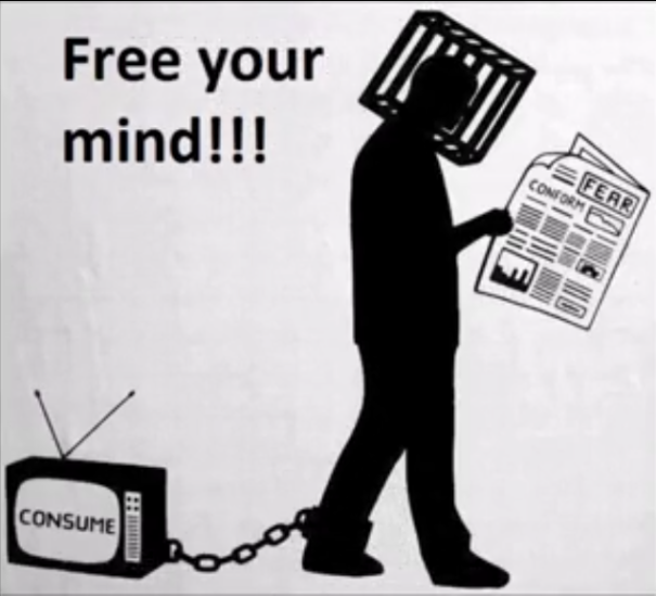 Mind control, thinking inside a box, and mass deception.