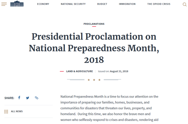 31Aug2018 President Trump signed national emergency preparedness proclamation