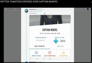 Captain Marvel 2019 Rotten Tomatoes interest fell from 96% to 26%
