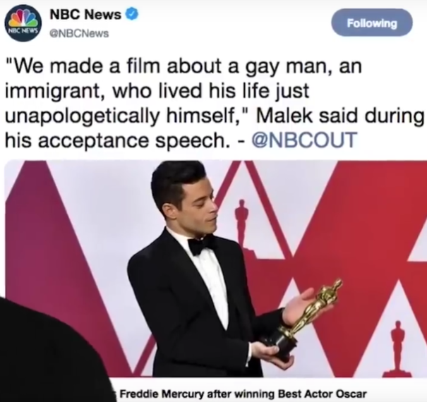 February 2019 SJW wokeness infects corporate entertainment at the Oscars.